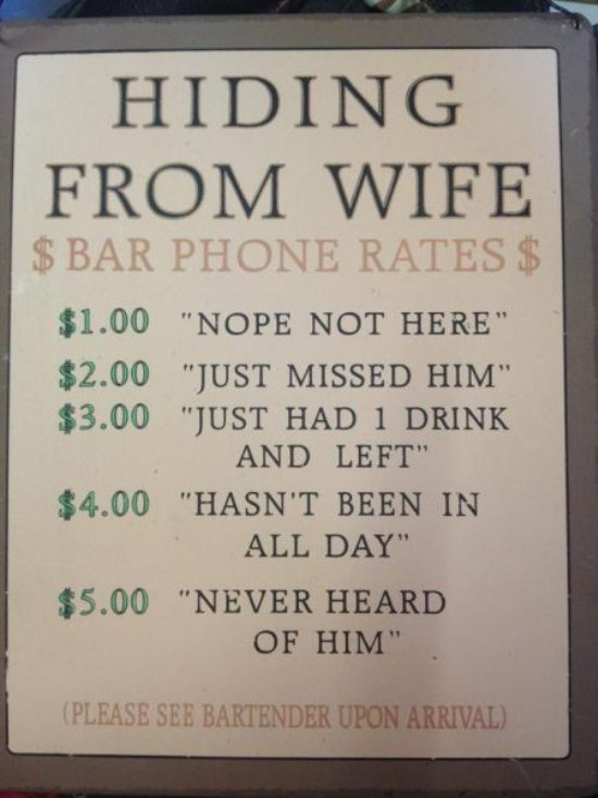 CLUB GIGGLE hiding-from-wife 21 Funny Signs From Around The World