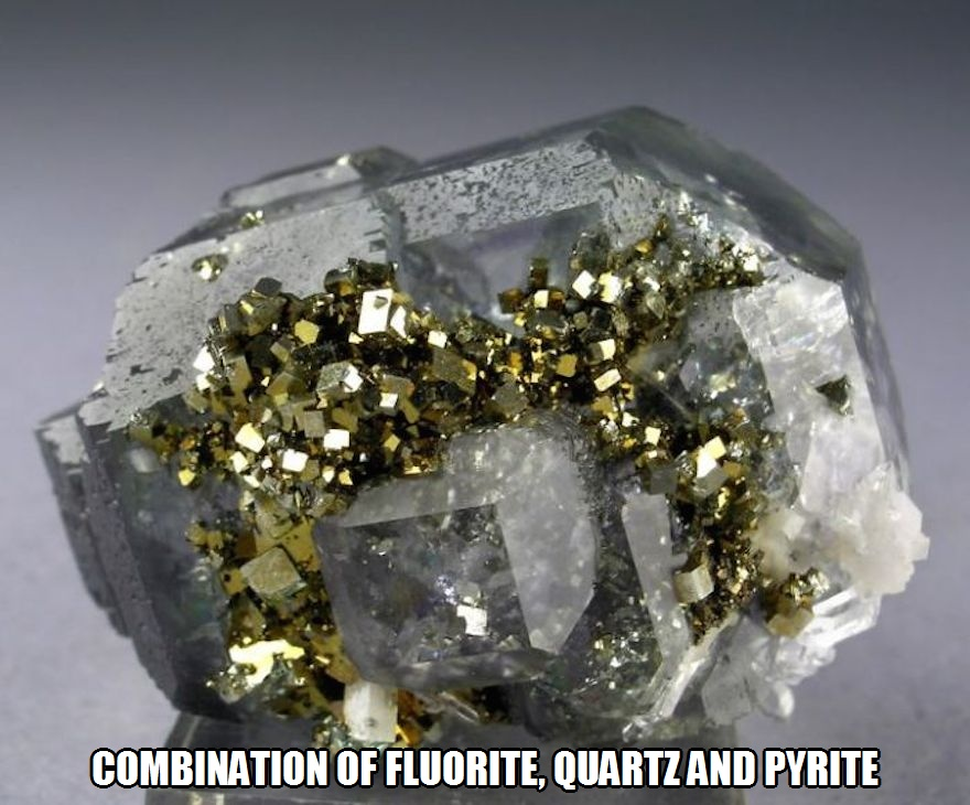 CLUB GIGGLE combination-of-fluorite-quartz-and-pyrite 17 World's Most Amazing Minerals And Gemstones 5/2/2017
