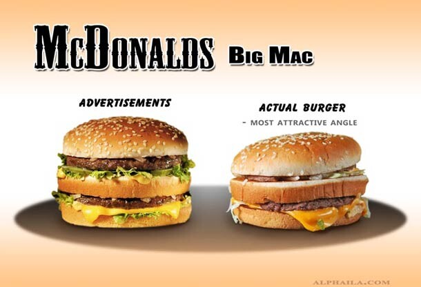 CLUB GIGGLE Advertised-And-Real-Burgers-Compared-1 20 Pictures Of Deceptive Fast Food Vs Reality...