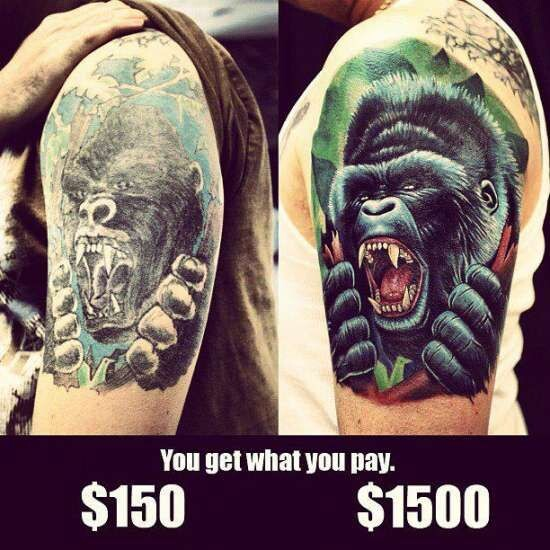 CLUB GIGGLE cheap-vs-expensive You Get What You Pay For Cheap Vs Expensive Tattoos 25 Pics